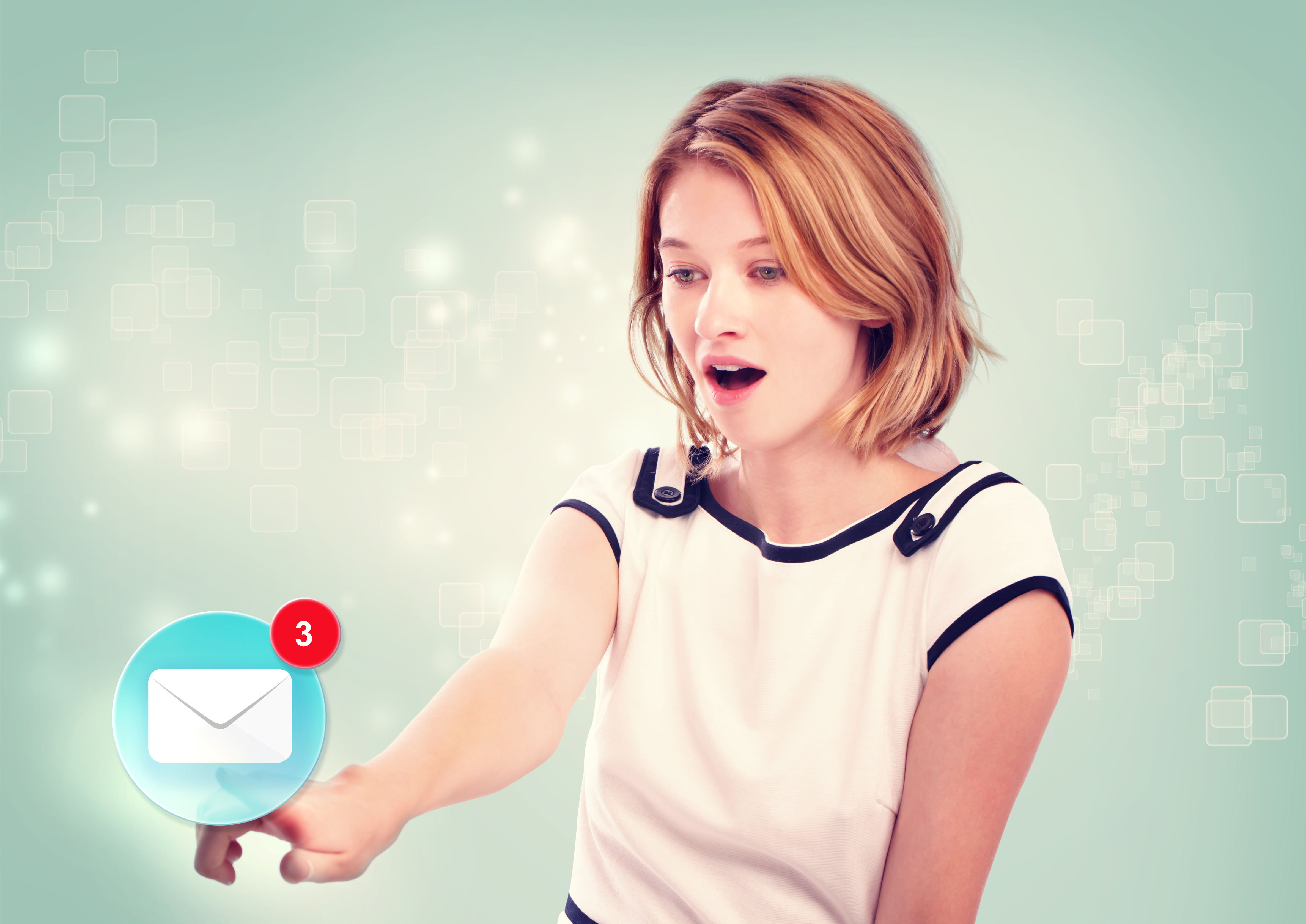 Young woman pointing at email icon