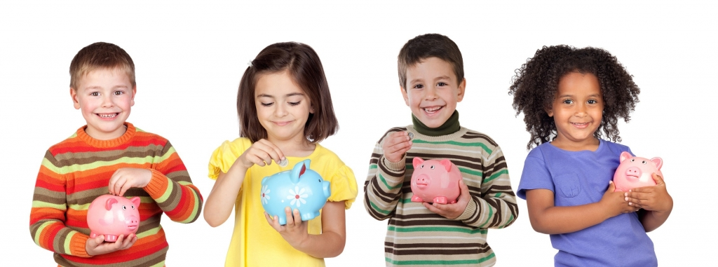 Four funny children with money-box