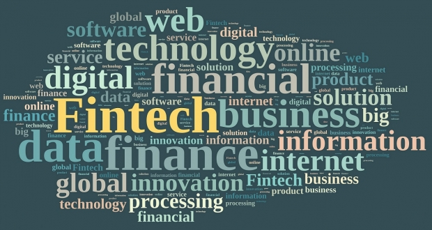 Illustration with word cloud on Fintech, finance and technology.